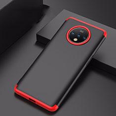 OnePlus 7T用ハードケース プラスチック 質感もマット 前面と背面 360度 フルカバー P01 OnePlus レッド・ブラック