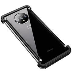 OnePlus 7T用ケース 高級感 手触り良い アルミメタル 製の金属製 バンパー カバー T01 OnePlus ブラック