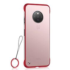 OnePlus 7T用ハードカバー クリスタル クリア透明 S01 OnePlus レッド