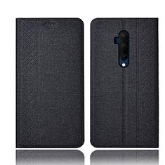 OnePlus 7T Pro 5G用手帳型 布 スタンド OnePlus ブラック
