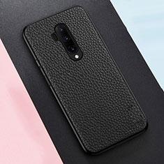 OnePlus 7T Pro 5G用シリコンケース ソフトタッチラバー レザー柄 カバー OnePlus ブラック