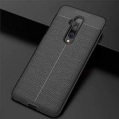 OnePlus 7T Pro 5G用シリコンケース ソフトタッチラバー レザー柄 カバー S01 OnePlus ブラック