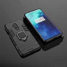 OnePlus 7T Pro 5G用ハイブリットバンパーケース スタンド プラスチック 兼シリコーン カバー マグネット式 OnePlus ブラック