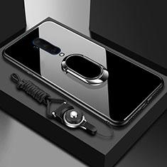 OnePlus 7T Pro 5G用ハイブリットバンパーケース プラスチック 鏡面 カバー アンド指輪 マグネット式 OnePlus ブラック