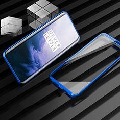 OnePlus 7T Pro 5G用ケース 高級感 手触り良い アルミメタル 製の金属製 360度 フルカバーバンパー 鏡面 カバー M01 OnePlus ネイビー
