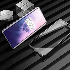 OnePlus 7T Pro 5G用ケース 高級感 手触り良い アルミメタル 製の金属製 360度 フルカバーバンパー 鏡面 カバー M01 OnePlus ブラック