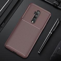 OnePlus 7T Pro 5G用シリコンケース ソフトタッチラバー ツイル カバー S01 OnePlus ブラウン