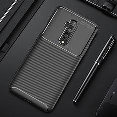 OnePlus 7T Pro 5G用シリコンケース ソフトタッチラバー ツイル カバー S01 OnePlus ブラック