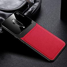 OnePlus 7T Pro用シリコンケース ソフトタッチラバー レザー柄 カバー H02 OnePlus レッド