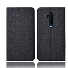 OnePlus 7T Pro用手帳型 布 スタンド H01 OnePlus ブラック