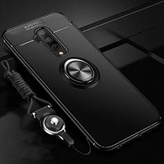 OnePlus 7T Pro用極薄ソフトケース シリコンケース 耐衝撃 全面保護 アンド指輪 マグネット式 バンパー T03 OnePlus ブラック
