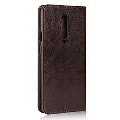 OnePlus 7T Pro用手帳型 レザーケース スタンド カバー T03 OnePlus ブラウン