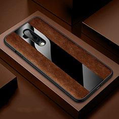 OnePlus 7T Pro用シリコンケース ソフトタッチラバー レザー柄 カバー H03 OnePlus ブラウン