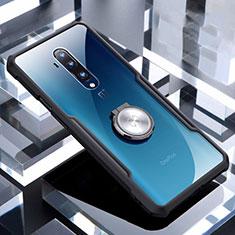 OnePlus 7T Pro用極薄ソフトケース シリコンケース 耐衝撃 全面保護 クリア透明 アンド指輪 マグネット式 C01 OnePlus ブラック