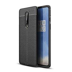 OnePlus 8用シリコンケース ソフトタッチラバー レザー柄 カバー OnePlus ブラック