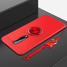 OnePlus 8用極薄ソフトケース シリコンケース 耐衝撃 全面保護 アンド指輪 マグネット式 バンパー A01 OnePlus レッド