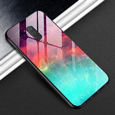 OnePlus 8用ハイブリットバンパーケース プラスチック 鏡面 カバー T01 OnePlus シアン