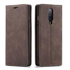 OnePlus 8用手帳型 レザーケース スタンド カバー T07 OnePlus ブラウン
