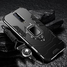 OnePlus 8用ハイブリットバンパーケース プラスチック アンド指輪 マグネット式 R01 OnePlus ブラック