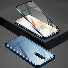 OnePlus 8用ケース 高級感 手触り良い アルミメタル 製の金属製 360度 フルカバーバンパー 鏡面 カバー T02 OnePlus ネイビー