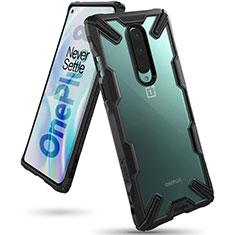 OnePlus 8用ハイブリットバンパーケース クリア透明 プラスチック 鏡面 カバー H02 OnePlus ブラック