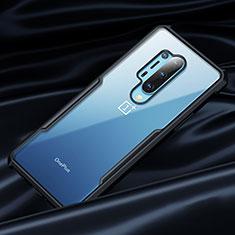 OnePlus 8 Pro用360度 フルカバーハイブリットバンパーケース クリア透明 プラスチック 鏡面 OnePlus ブラック