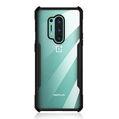 OnePlus 8 Pro用ハイブリットバンパーケース クリア透明 プラスチック 鏡面 カバー H03 OnePlus ブラック