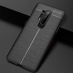 OnePlus 8 Pro用シリコンケース ソフトタッチラバー レザー柄 カバー H03 OnePlus ブラック