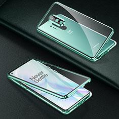 OnePlus 8 Pro用ケース 高級感 手触り良い アルミメタル 製の金属製 360度 フルカバーバンパー 鏡面 カバー T01 OnePlus グリーン