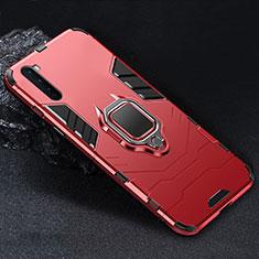 OnePlus Nord用ハイブリットバンパーケース プラスチック アンド指輪 マグネット式 OnePlus レッド