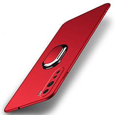 OnePlus Nord用ハードケース プラスチック 質感もマット アンド指輪 マグネット式 A01 OnePlus レッド