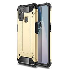 OnePlus Nord N100用ハイブリットバンパーケース プラスチック 兼シリコーン カバー OnePlus ゴールド