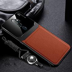 Oppo A11用シリコンケース ソフトタッチラバー レザー柄 カバー Oppo ブラウン