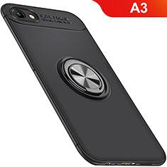 Oppo A3用極薄ソフトケース シリコンケース 耐衝撃 全面保護 アンド指輪 マグネット式 バンパー Oppo ブラック