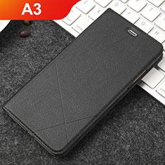 Oppo A3用手帳型 レザーケース スタンド カバー Oppo ブラック