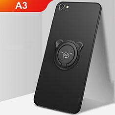 Oppo A3用極薄ソフトケース シリコンケース 耐衝撃 全面保護 アンド指輪 マグネット式 バンパー A01 Oppo ブラック