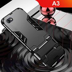 Oppo A3用ハイブリットバンパーケース スタンド プラスチック 兼シリコーン カバー Oppo ブラック