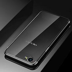 Oppo A3用極薄ソフトケース シリコンケース 耐衝撃 全面保護 クリア透明 H02 Oppo ブラック
