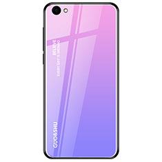 Oppo A3用ハイブリットバンパーケース プラスチック 鏡面 虹 グラデーション 勾配色 カバー Oppo パープル