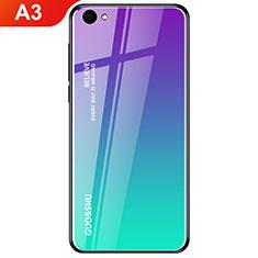 Oppo A3用ハイブリットバンパーケース プラスチック 鏡面 虹 グラデーション 勾配色 カバー Oppo シアン