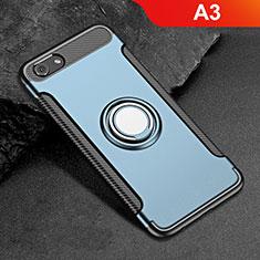 Oppo A3用ハイブリットバンパーケース プラスチック アンド指輪 兼シリコーン カバー Oppo ネイビー