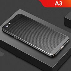 Oppo A3用ハードケース プラスチック メッシュ デザイン カバー Oppo ブラック