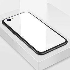Oppo A3用ハイブリットバンパーケース プラスチック 鏡面 カバー Oppo ホワイト