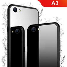 Oppo A3用ハイブリットバンパーケース プラスチック 鏡面 カバー Oppo ブラック