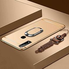 Oppo A31用ケース 高級感 手触り良い メタル兼プラスチック バンパー アンド指輪 A01 Oppo ゴールド