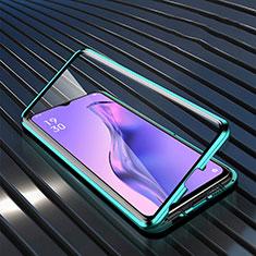 Oppo A31用ケース 高級感 手触り良い アルミメタル 製の金属製 360度 フルカバーバンパー 鏡面 カバー M01 Oppo グリーン