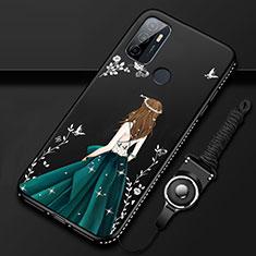 Oppo A33用シリコンケース ソフトタッチラバー バタフライ ドレスガール ドレス少女 カバー Oppo ブラック