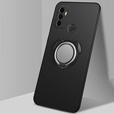 Oppo A33用極薄ソフトケース シリコンケース 耐衝撃 全面保護 アンド指輪 マグネット式 バンパー A02 Oppo ブラック