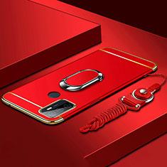 Oppo A33用ケース 高級感 手触り良い メタル兼プラスチック バンパー アンド指輪 A01 Oppo レッド