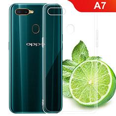 Oppo A7用極薄ソフトケース シリコンケース 耐衝撃 全面保護 クリア透明 T02 Oppo クリア